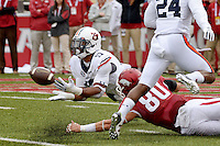 NWA Democrat-Gazette/BEN GOFF @NWABENGOFF<br /> Kris Frost (17) Auburn linebacker, intercepts a pass intended for Drew Morgan, Arkansas wide receiver, in the first half on Saturday Oct. 24, 2014 during the game in Razorback Stadium in Fayetteville.