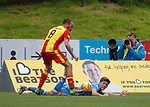 Stuart Bannigan and Ryan Christie tangle and the ref awards a penalty kick to Aberdeen