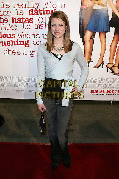 "EMMA ROBERTS.""She's The Man Premiere"" - Arrivals held at Mann Village Theater, Hollywood, California, USA.March 8th, 2006.Photo: Zach Lipp/AdMedia/Capital Pictures.Ref: ZL/ADM.full length blue wrap cardigan jeans denim.www.capitalpictures.com.sales@capitalpictures.com.© Capital Pictures."