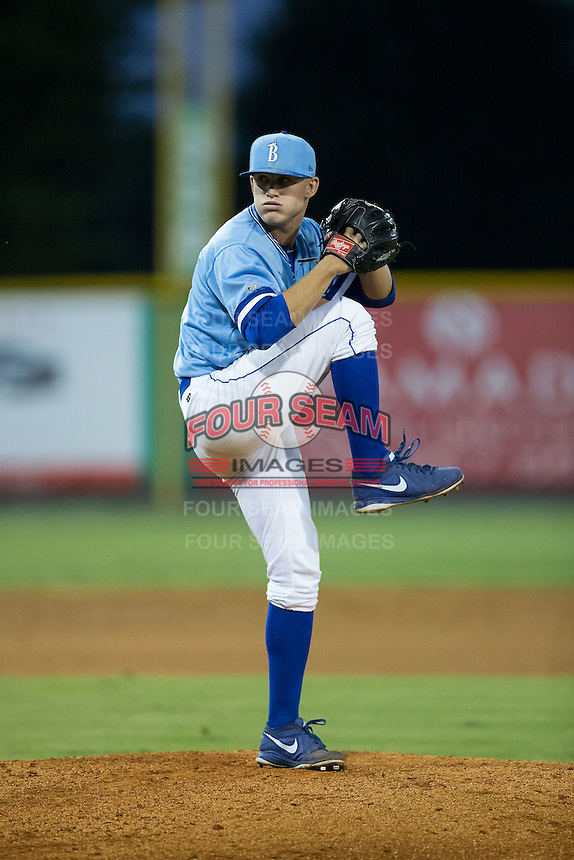 Burlington Royals relief pitcher Mark McCoy (41) in action against the Danville Braves at Burlington Athletic Park on August 13, 2015 in Burlington, North Carolina.  The Braves defeated the Royals 6-3. (Brian Westerholt/Four Seam Images)