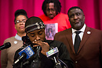 SACRAMENTO, CALIFORNIA - MARCH 3, 2019: Stevante Clark, brother of Stephon Clark, pauses while condemning the release of personal information, including texts sent the day before he was shot by Sacramento police officers in 2018, during a press conference at Genesis Church. The Sacramento Count District Attorney Anne Marie Schubert announced Saturday that the officers would not be charged in Clark's death. CREDIT: Max Whittaker for The New York Times