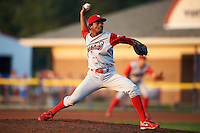 Williamsport Crosscutters pitcher Ulises Joaquin #45 during a NY-Penn League game against the Batavia Muckdogs at Dwyer Stadium on August 25, 2012 in Batavia, New York.  Batavia defeated Williamsport 6-5.  (Mike Janes/Four Seam Images)