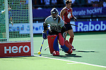 The Hague, Netherlands, June 12: Jackie Kintzer #31 of USA makes a save during the field hockey semi-final match (Women) between USA and Australia on June 12, 2014 during the World Cup 2014 at Kyocera Stadium in The Hague, Netherlands. Final score after full time 2-2 (0-1). Score after shoot-out 1-3. (Photo by Dirk Markgraf / www.265-images.com) *** Local caption *** Jackie Kintzer #31 of USA