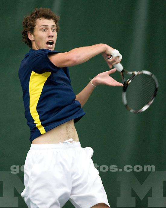 The University of Michigan men's tennis team beat Western Michigan University 7-0 at the Varsity Tennis Center in Ann Arbor, Mich., on January 14, 2012.