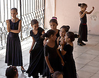 kids in ballet class in famous old colonial style theatre, Cienfuegos, Cuba