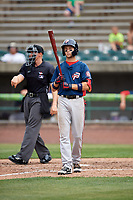 Potomac Nationals shortstop Carter Kieboom (5) at bat during the first game of a doubleheader against the Lynchburg Hillcats on June 9, 2018 at Calvin Falwell Field in Lynchburg, Virginia.  Lynchburg defeated Potomac 5-3.  (Mike Janes/Four Seam Images)