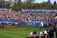 The 1st tee from the 1st green during the Saturday Fourball Matches of the Ryder Cup at Gleneagles Golf Club on Saturday 27th September 2014.<br /> Picture:  Thos Caffrey / www.golffile.ie