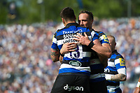 Matt Banahan of Bath Rugby celebrates his try with team-mate James Wilson. Aviva Premiership match, between Bath Rugby and London Irish on May 5, 2018 at the Recreation Ground in Bath, England. Photo by: Patrick Khachfe / Onside Images