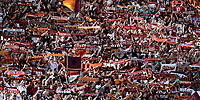 Calcio, Serie A: Roma, stadio Olimpico, 28 maggio 2017.<br /> Roma's fans before the start of the Italian Serie A football match between AS Roma and Genoa at Rome's Olympic stadium, May 28, 2017.<br /> Francesco Totti's final match with Roma after a 25-season career with his hometown club.<br /> UPDATE IMAGES PRESS/Isabella Bonotto