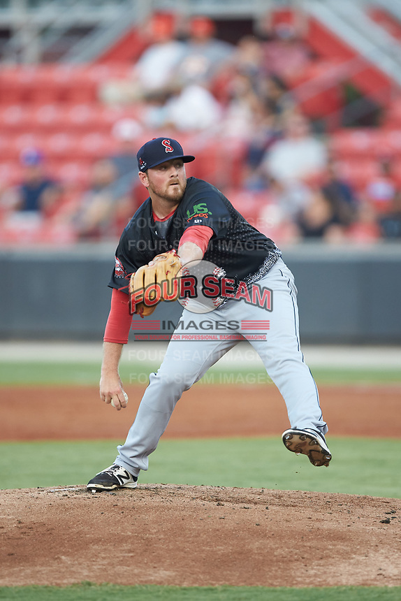 North Division pitcher Matthew Gorst (29) of the Salem Red Sox in action during the 2018 Carolina League All-Star Classic at Five County Stadium on June 19, 2018 in Zebulon, North Carolina. The South All-Stars defeated the North All-Stars 7-6.  (Brian Westerholt/Four Seam Images)