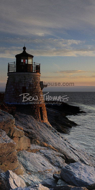This panorama shot catches the face of Castle Hill Lighthouse illuminated by the sunset.