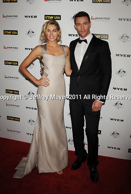 HOLLYWOOD, CA - January 22: Jessica Hart and Chris Smith arrive at the G'Day USA Australia Week 2011 Black Tie Gala at the Hollywood Palladium on January 22, 2011 in Hollywood, California.