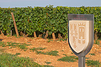 "Vineyard. Batard Montrachet, Hospices de Beaune. ""Le Montrachet"" Grand Cru, Puligny Montrachet, Cote de Beaune, d'Or, Burgundy, France"