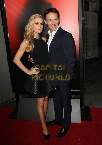 Anna Paquin &amp; Stephen Moyer<br /> &quot;True Blood&quot; Season 6 Los Angeles Premiere held at The Cinerama Dome, Hollywood, California, USA.<br /> June 11th, 2013<br /> full length top dress skirt hand on hip black sleeveless peplum blue suit white dress married husband wife <br /> CAP/ADM/KB<br /> &copy;Kevan Brooks/AdMedia/Capital Pictures