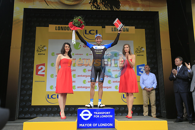 Jan Barta (CZE) Team Netapp-Endura wins the combativity prize after Stage 3 of the 2014 Tour de France running 155km from Cambridge to London. 7th July 2014.<br /> Picture: Eoin Clarke www.newsfile.ie