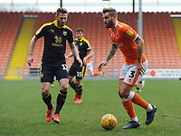 Blackpool's Nick Anderton under pressure from Oxford United's James Henry<br /> <br /> Photographer Kevin Barnes/CameraSport<br /> <br /> The EFL Sky Bet League One - Blackpool v Oxford United - Saturday 23rd February 2019 - Bloomfield Road - Blackpool<br /> <br /> World Copyright © 2019 CameraSport. All rights reserved. 43 Linden Ave. Countesthorpe. Leicester. England. LE8 5PG - Tel: +44 (0) 116 277 4147 - admin@camerasport.com - www.camerasport.com
