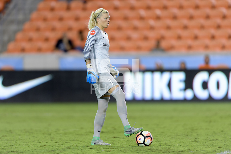 Houston, TX - Wednesday June 28, 2017: Goalkeeper Jane Campbell looks to pass the ball during a regular season National Women's Soccer League (NWSL) match between the Houston Dash and the Boston Breakers at BBVA Compass Stadium.