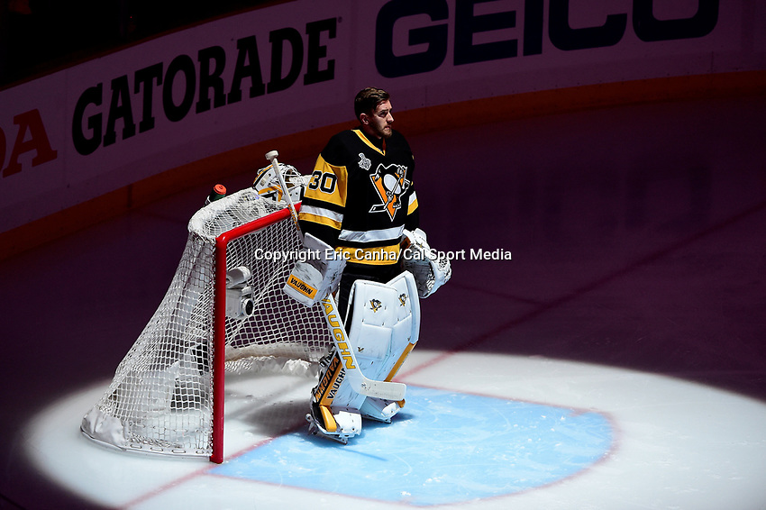 Wednesday, June 1, 2016: Pittsburgh Penguins goalie Matt Murray (30) watches the center ice display before the start of  game 2 of the NHL Stanley Cup Finals  between the San Jose Sharks and the Pittsburgh Penguins held at the CONSOL Energy Center in Pittsburgh Pennsylvania. Eric Canha/CSM