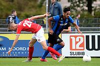 ASSEN - Voetbal, ACV - Harkemase Boys, Derde Divisie, seizoen 2017-2018, 09-09-2017,  ACV speler Romano Djababoe zet Jens Jurn Streutker op het verkeerde been