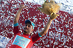 Andrea Guardini (ITA) Astana wins Stage 1, The ADNOC Stage, of the 2015 Abu Dhabi Tour and dons the race leader's Red Jersey, running 174 km from Qasr Al Sarab to Madinat Zayed, Abu Dhabi. 8th October 2015.<br /> Picture: ANSA/Claudio Peri | Newsfile