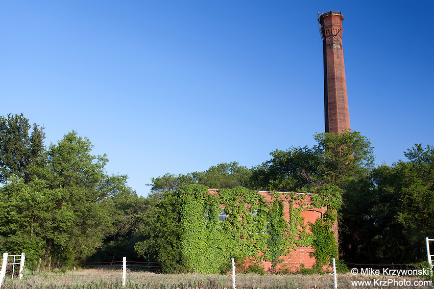 Historic chimney & vine covered abandoned building in Thurber, TX
