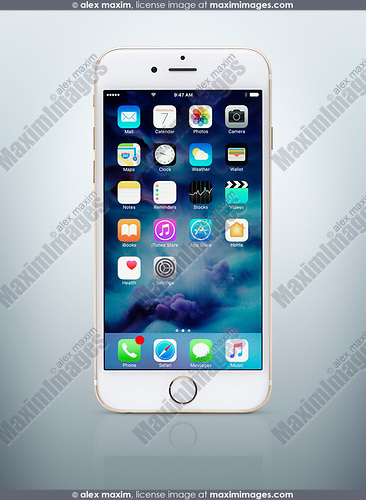Gold white Apple iPhone 6 6s with desktop icons on its display isolated on light blue background with clipping path