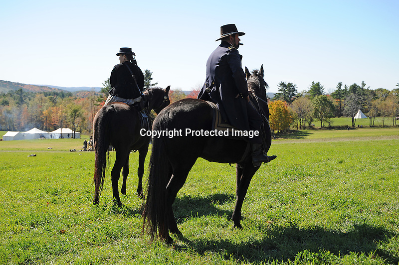 Civil War Reenactment Union Army General Ulysses S. Grant Observing Battle