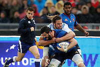 Rugby, Torneo Sei Nazioni: Italia vs Francia. Roma, stadio Olimpico, 15 marzo 2015.<br /> France's Loan Goujon, foreground, is challenged by Italy's Josh Furno during the Six Nations championship rugby match between Italy and France at Rome's Olympic stadium, 15 March 2015.<br /> UPDATE IMAGES PRESS/Riccardo De Luca