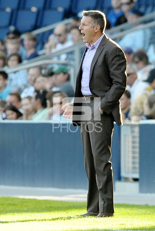 Sporting KC head coach Peter Vermes on the sidelines... Sporting KC defeated FC Dallas 2-1 at LIVESTRONG Sporting Park, Kansas City, Kansas.