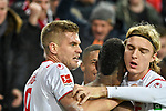 30.11.2019, Rheinenergiestadion, Köln, GER, DFL, 1. BL, 1. FC Koeln vs FC Augsburg, DFL regulations prohibit any use of photographs as image sequences and/or quasi-video<br /> <br /> im Bild Jhon Cordoba (#15, 1.FC Köln / Koeln)  jubelt nach seinem Tor zum 1:1 mit Simon Terodde (#9, 1.FC Köln / Koeln)  Sebastiaan Bornauw (#33, 1.FC Köln / Koeln) <br /> <br /> Foto © nordphoto/Mauelshagen