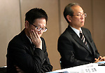 December 27, 2016, Tokyo, Japan - Japan's troubled electronics giant Toshiba CFO Masayoshi Hirata annonces the company may post several billion US dollars loss for the fiscal year in connection with Toshiba's subsidiary Westinghouse's nuclear plant business in the U.S. at a press conference while president satoshi Tsunakawa (R) looks on at Toshiba headquarters in Tokyo on Tuesday, December 27, 2016.  (Photo by Yoshio Tsunoda/AFLO) LWX -ytd-