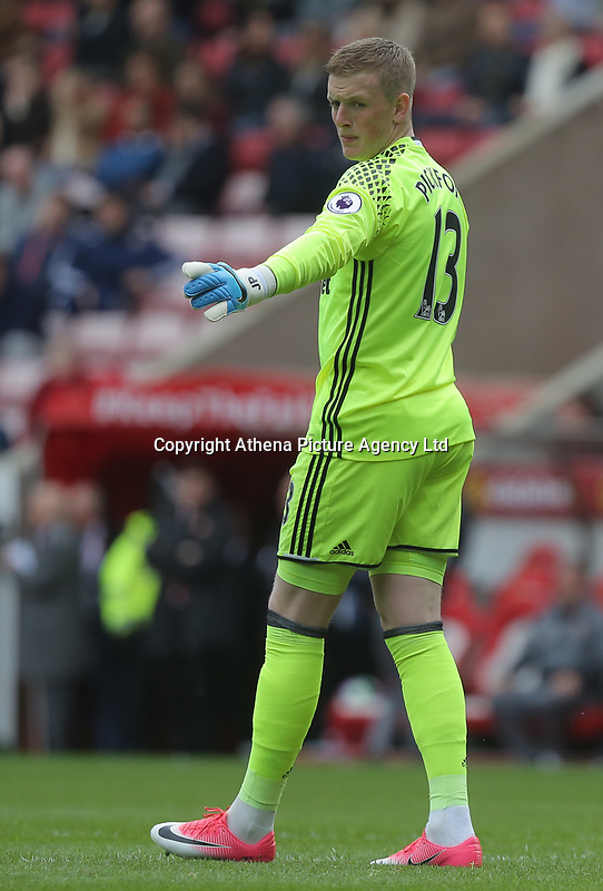 Jordan Pickford of Sunderland in action during the Premier League match between Sunderland and Swansea City at the Stadium of Light, Sunderland, England, UK. Saturday 13 May 2017