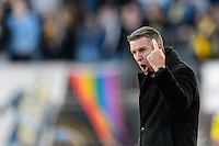 Sporting Kansas City manager Peter Vermes. Sporting Kansas City defeated the Philadelphia Union 2-1 during a Major League Soccer (MLS) match at PPL Park in Chester, PA, on October 26, 2013.