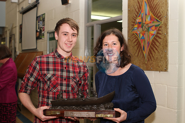 Helen Martin presents The Martin Kilkelly Memorial Award to Conor McDonagh at the St.Mary's School Awards...Photo NEWSFILE/Jenny Matthews..(Photo credit should read Jenny Matthews/NEWSFILE)