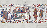 Bayeux Tapestry scene 27-28 :  A dying Edward the Confessor makes his last requests' BYX27 BYX 28