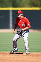 Los Angeles Angels of Anaheim Hutton Moyer (4) during an Instructional League game against the San Francisco Giants on October 13, 2016 at the Tempe Diablo Stadium Complex in Tempe, Arizona.  (Mike Janes/Four Seam Images)