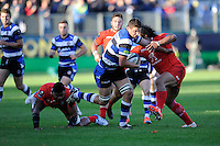 Charlie Ewels of Bath Rugby in full flight during the European Rugby Champions Cup  Round 2 match between Bath Rugby and Stade Toulousain at The Recreation Ground on Saturday 25th October 2014 (Photo by Rob Munro)