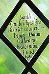 Glass inscription major donor restoration fund,  Ely cathedral, Cambridgeshire, England, UK