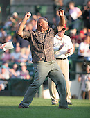 Former major league infielder Chris Chambliss throws out the first pitch at a 2007 Rochester Red Wings game vs. Yankees affiliate the Scranton Wilkes-Bare Yankees.  Class-AAA affiliate of the Minnesota Twins of the International League...Photo By:  Mike Janes