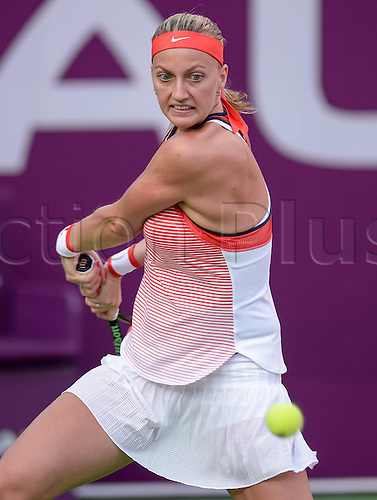 23.02.2016. Doha, Qatar. Qatar Total Open championships.  Petra Kvitova of the Czech Republic competes during her womens singles second round match against Barbora Strycova of the Czech Republic at the WTA Tennis Damen Qatar Open 2016 in Doha, Qatar, Feb. 23, 2016. Kvitova won 2-0.