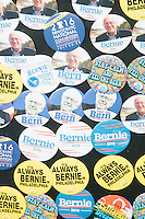 A vendor sold Bernie Sanders-themed buttons outside the secure area surrounding the Democratic National Convention at the Wells Fargo Center in Philadelphia, Pennsylvania, on Wed., July 27, 2016.