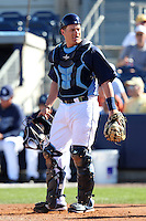 Tampa Bay Rays catcher Stephen Vogt #26 during a spring training game against the Baltimore Orioles at the Charlotte County Sports Park on March 5, 2012 in Port Charlotte, Florida.  (Mike Janes/Four Seam Images)