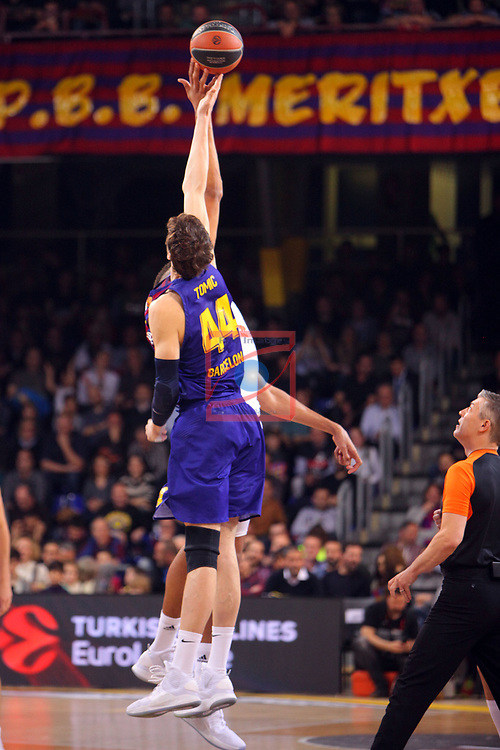 Turkish Airlines Euroleague 2018/2019. <br /> Regular Season-Round 24.<br /> FC Barcelona Lassa vs R. Madrid: 77-70. <br /> Ante Tomic.