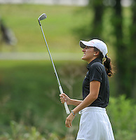 NWA Democrat-Gazette/MICHAEL WOODS &bull; @NWAMICHAELW<br /> Bentonville's Katie McCloskey watches her drive during Bentonville's golf match against Har-Ber Tuesday August 18, 2015, at the Berksdale Golf Course in Bella Vista.