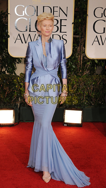 Tilda Swinton (wearing Haider Ackermann).Arrivals at the 69th Annual Golden Globe Awards at The Beverly Hilton Hotel, Beverly Hills, California, USA..January 15th, 2012.globes full length lilac jacket blue purple silk satin fishtail skirt .CAP/GDG.©GDG/Capital Pictures