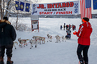 Mikah Whitehead crosses the finish of the 2018 Junior Iditarod in Willow, Alaska. Sunday February 25, 2018<br /> <br /> Photo by Jeff Schultz/SchultzPhoto.com  (C) 2018  ALL RIGHTS RESERVED