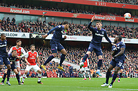 Sebastien Haller of West Ham United clears a cross during Arsenal vs West Ham United, Premier League Football at the Emirates Stadium on 7th March 2020