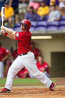 Stony Brook Seawolves first baseman Kevin Courtney #25 swings during the NCAA Super Regional baseball game against LSU on June 9, 2012 at Alex Box Stadium in Baton Rouge, Louisiana. Stony Brook defeated LSU 3-1. (Andrew Woolley/Four Seam Images)