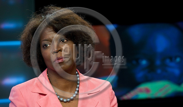Brussels-Belgium, May 11, 2012 -- Ertharin COUSIN, Executive Director of the United Nations World Food Programme (WFP - PAM) at a TV studio -- Photo: Horst Wagner / eup-images