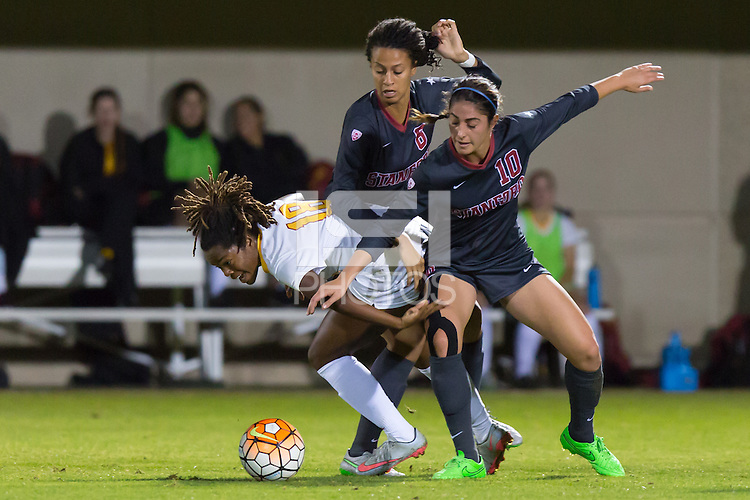 Stanford, CA - October 29, 2015: Haley Rosen during Stanford women\'s soccer against USC at Maloney Field. Stanford defeated USC 1-0.